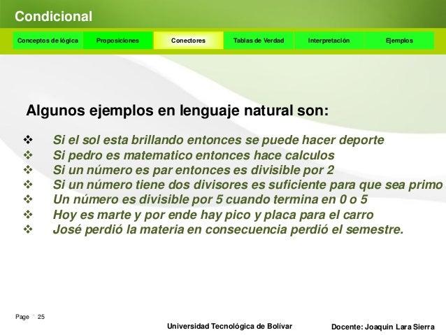 DisyunciónConceptos de lógica    Proposiciones      Conectores      Tablas de Verdad      Interpretación       Ejemplos Ej...