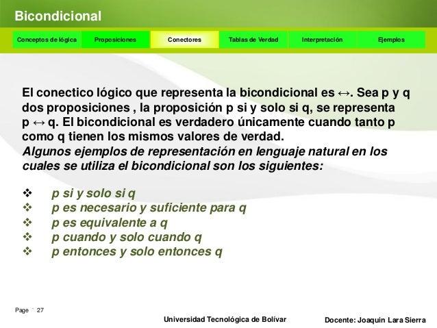 DisyunciónConceptos de lógica     Proposiciones    Conectores      Tablas de Verdad    Interpretación       Ejemplos Ejemp...