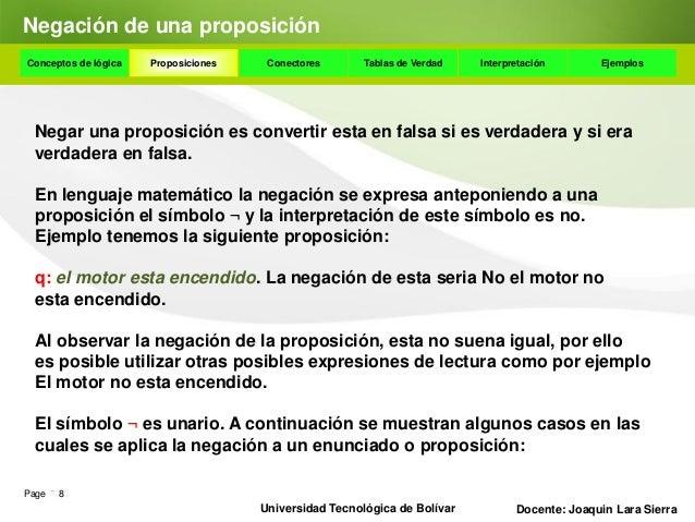 Negación de una proposiciónConceptos de lógica     Proposiciones    Conectores      Tablas de Verdad    Interpretación    ...