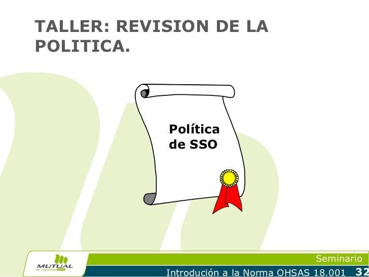 TALLER: REVISION DE LAPOLITICA.            Política            de SSO                                         Seminario   ...