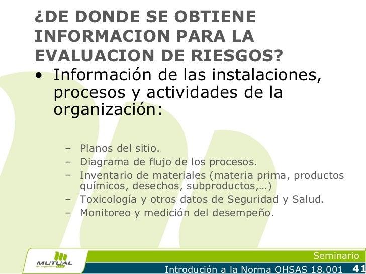 ¿DE DONDE SE OBTIENEINFORMACION PARA LAEVALUACION DE RIESGOS?• Información de las instalaciones,  procesos y actividades d...
