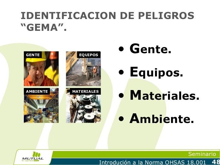 """IDENTIFICACION DE PELIGROS""""GEMA"""".GENTE        EQUIPOS                              • Gente.                              •..."""