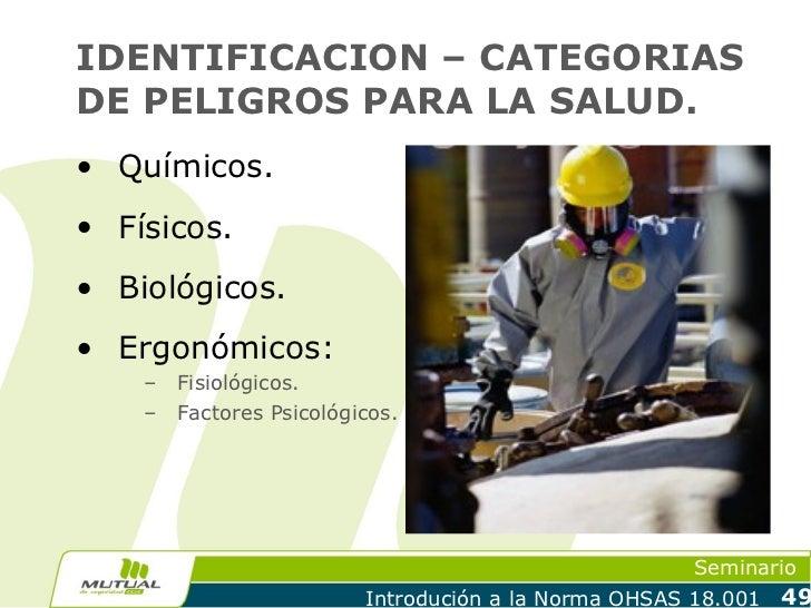 IDENTIFICACION – CATEGORIASDE PELIGROS PARA LA SALUD.• Químicos.• Físicos.• Biológicos.• Ergonómicos:    –   Fisiológicos....