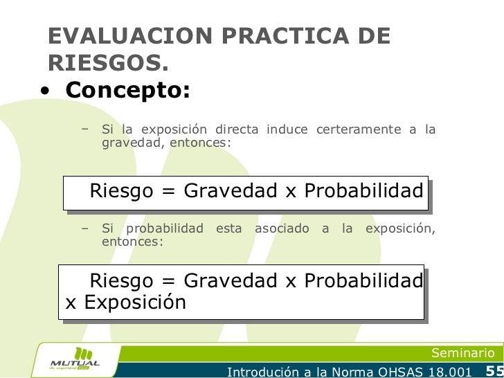 EVALUACION PRACTICA DE RIESGOS.• Concepto:  –    Si la exposición directa induce certeramente a la       gravedad, entonce...