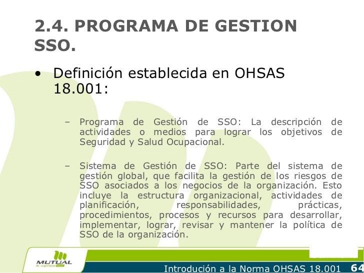 2.4. PROGRAMA DE GESTIONSSO.• Definición establecida en OHSAS  18.001:   –   Programa de Gestión de SSO: La descripción de...