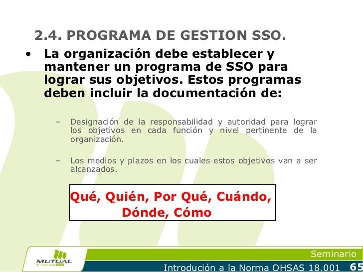2.4. PROGRAMA DE GESTION SSO.•    La organización debe establecer y     mantener un programa de SSO para     lograr sus ob...