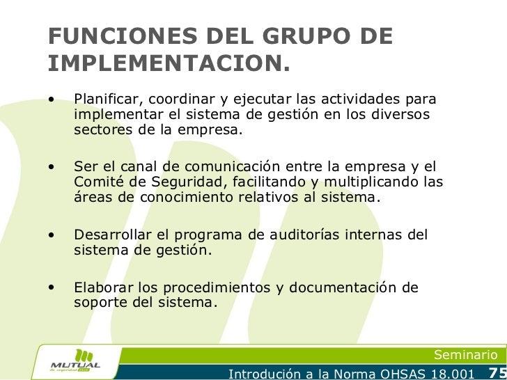 FUNCIONES DEL GRUPO DEIMPLEMENTACION.•   Planificar, coordinar y ejecutar las actividades para    implementar el sistema d...