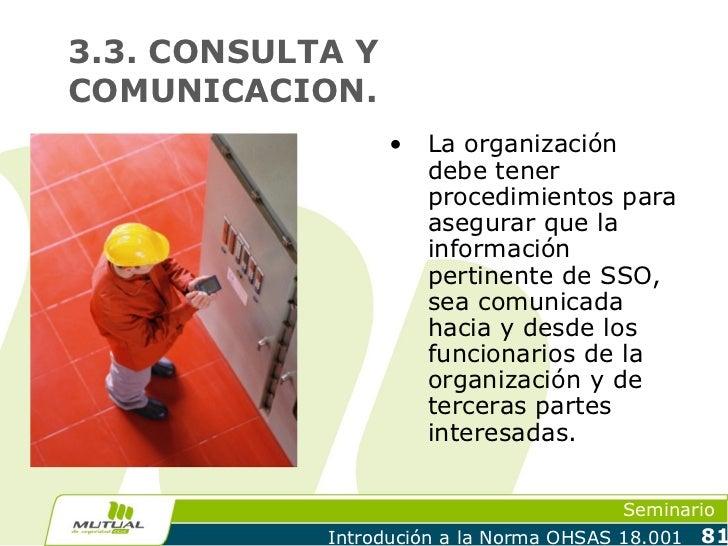 3.3. CONSULTA YCOMUNICACION.                  •   La organización                      debe tener                      pro...