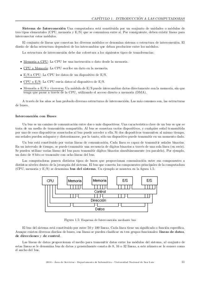 CAP´ITULO 1. INTRODUCCI ´ON A LAS COMPUTADORAS Sistema de Interconexi´on Una computadora est´a constituida por un conjunto...