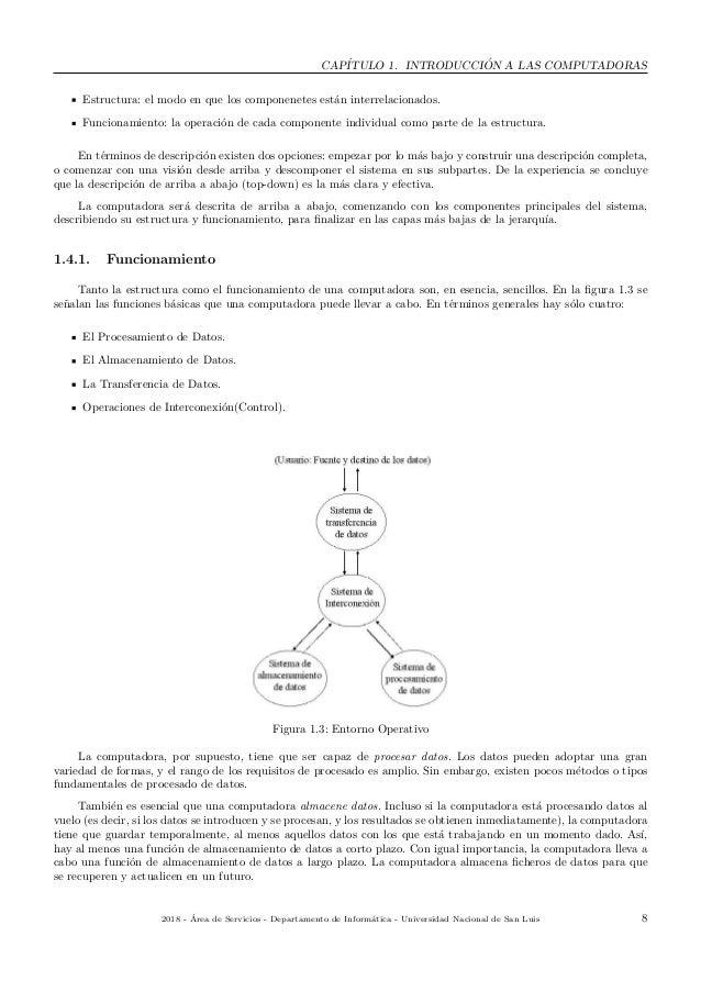 CAP´ITULO 1. INTRODUCCI ´ON A LAS COMPUTADORAS Estructura: el modo en que los componenetes est´an interrelacionados. Funci...