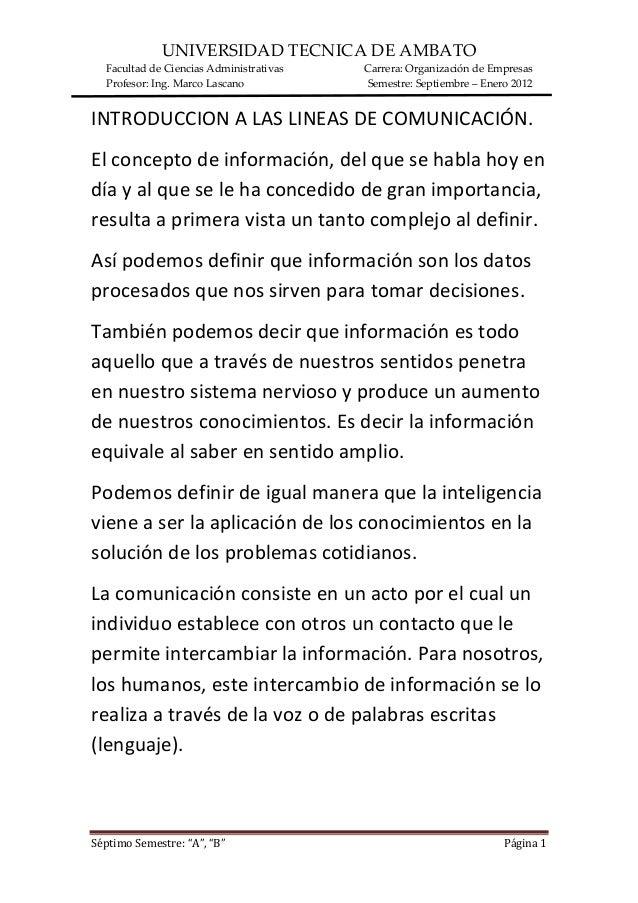 UNIVERSIDAD TECNICA DE AMBATO Facultad de Ciencias Administrativas Carrera: Organización de Empresas Profesor: Ing. Marco ...
