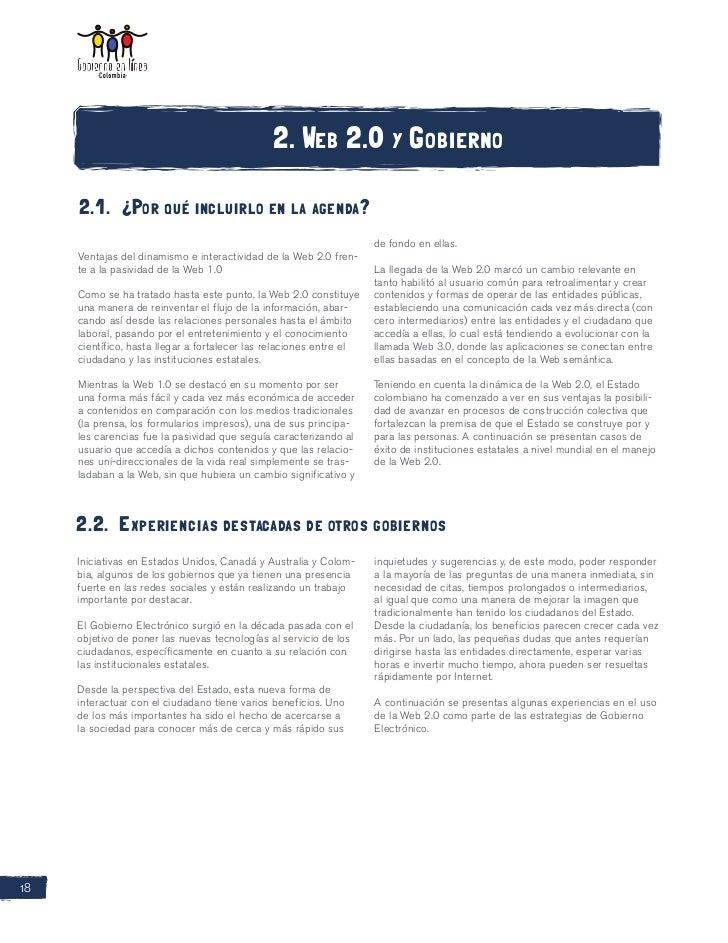 2. Web 2.0 y Gobierno     2.1. ¿Por qué incluirlo en la agenda?                                                          ...