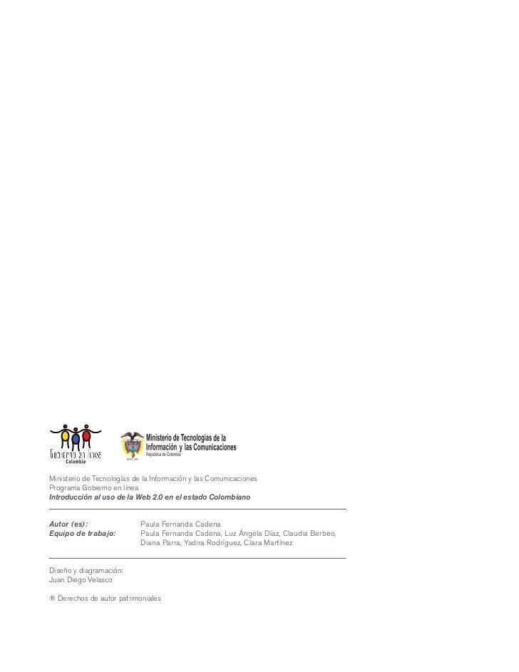 Ministerio de Tecnologías de la Información y las ComunicacionesPrograma Gobierno en líneaIntroducción al uso de la Web 2....