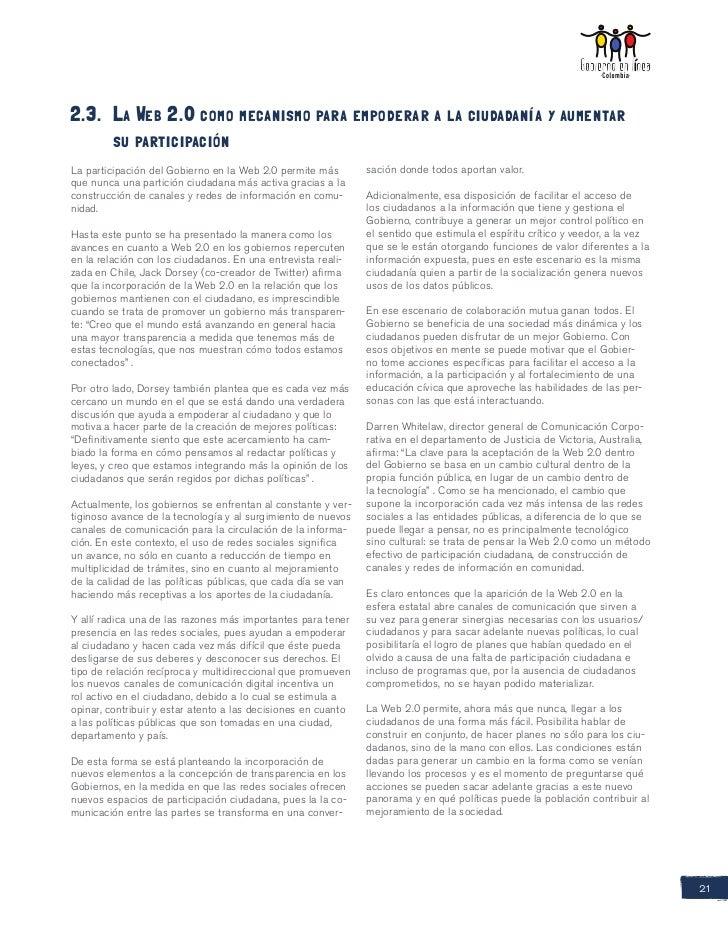 2.3. La Web 2.0 como mecanismo para empoderar a la ciudadanía y aumentar     su participaciónLa participación del Gobier...