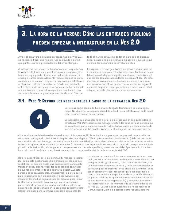 3. La hora de la verdad: Cómo las entidades públicas            pueden empezar a interactuar en la Web 2.0     Antes de cr...