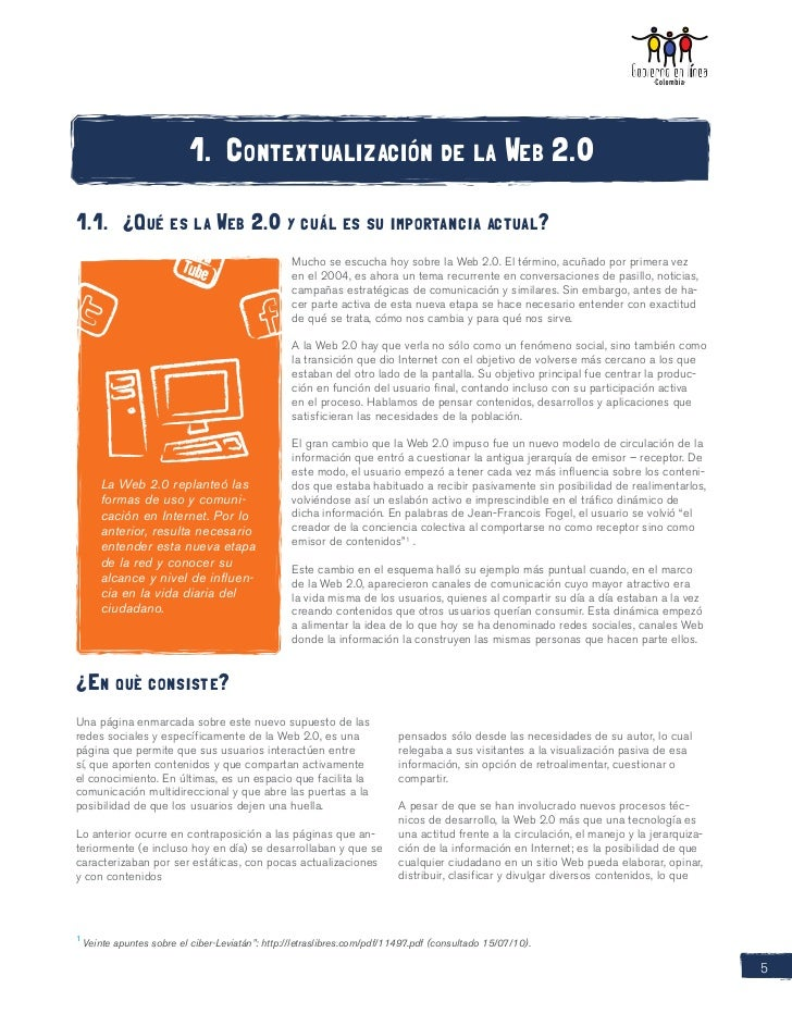1. Contextualización de la Web 2.01.1. ¿Qué es la Web 2.0 y cuál es su importancia actual?                               ...