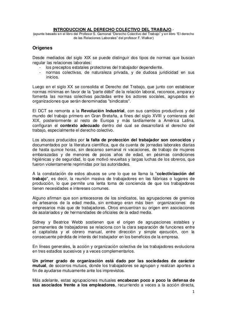 """INTRODUCCION AL DERECHO COLECTIVO DEL TRABAJO.-(apunte basado en el libro del Profesor S. Gamonal """"Derecho Colectivo del T..."""