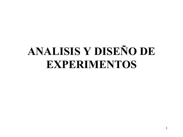 1ANALISIS Y DISEÑO DEEXPERIMENTOS