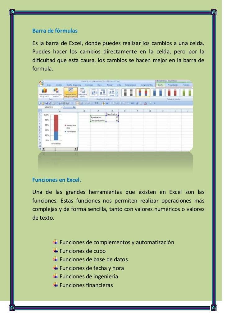 Barra de fórmulasEs la barra de Excel, donde puedes realizar los cambios a una celda.Puedes hacer los cambios directamente...