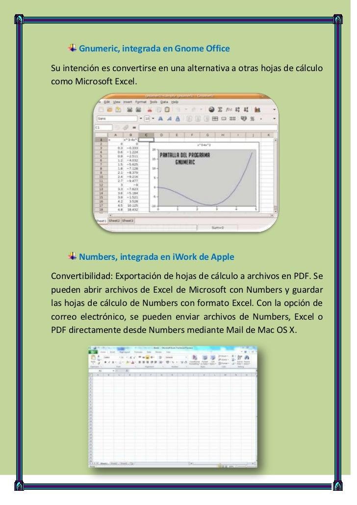 Gnumeric, integrada en Gnome OfficeSu intención es convertirse en una alternativa a otras hojas de cálculocomo Microsoft E...