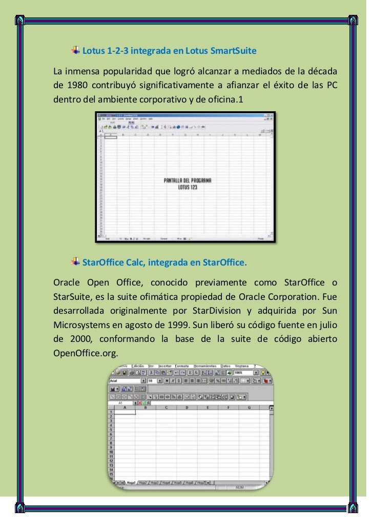 Lotus 1-2-3 integrada en Lotus SmartSuiteLa inmensa popularidad que logró alcanzar a mediados de la décadade 1980 contribu...