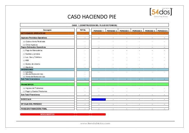 CASO HACIENDO PIE Concepto ACTIVIDADES OPERATIVAS Ingresos Previstos Operativos (+) Cobros Venta Realizada (+) Otros Ingre...