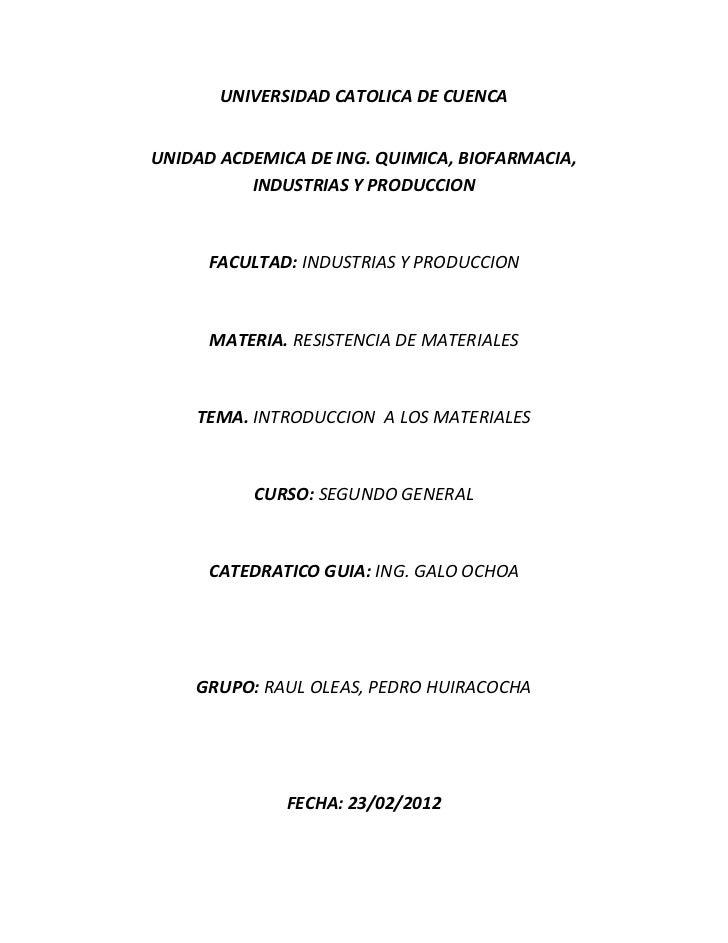 UNIVERSIDAD CATOLICA DE CUENCAUNIDAD ACDEMICA DE ING. QUIMICA, BIOFARMACIA,          INDUSTRIAS Y PRODUCCION      FACULTAD...