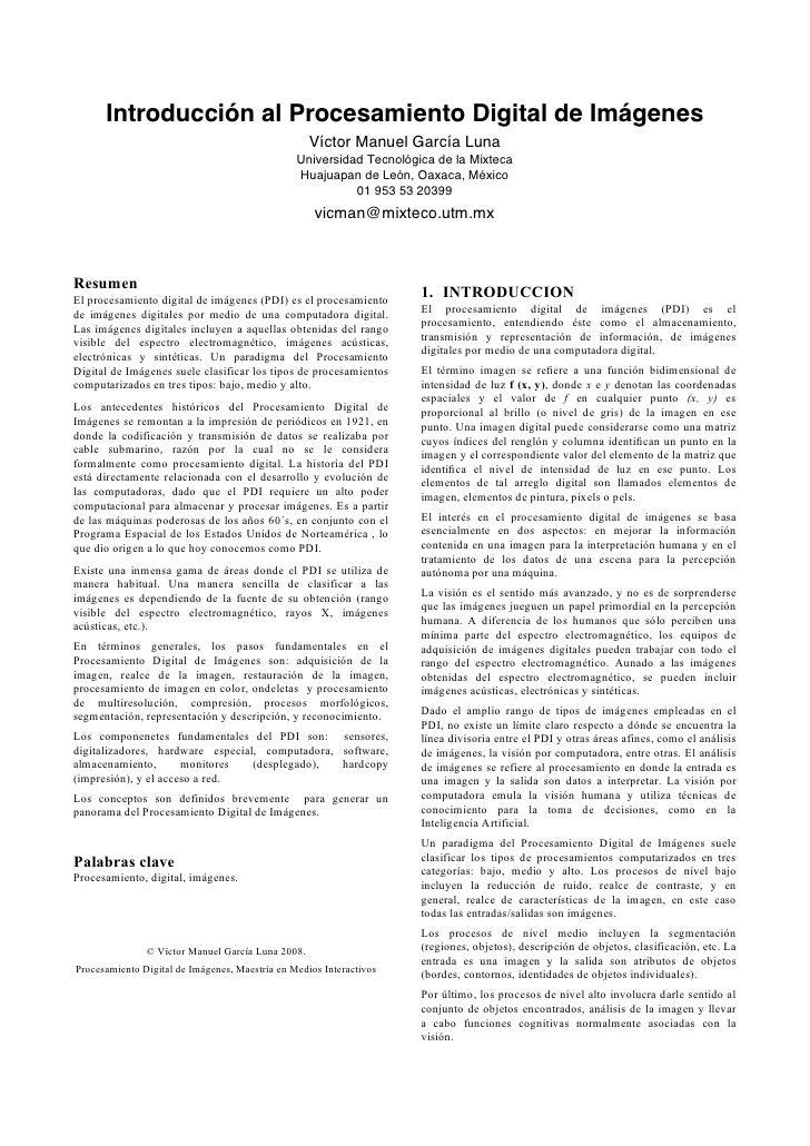 Introducción al Procesamiento Digital de Imágenes                                                    Víctor Manuel García ...