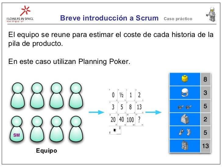 Breve introducción a Scrum Caso práctico El equipo se reune para estimar el coste de cada historia de la pila de producto....
