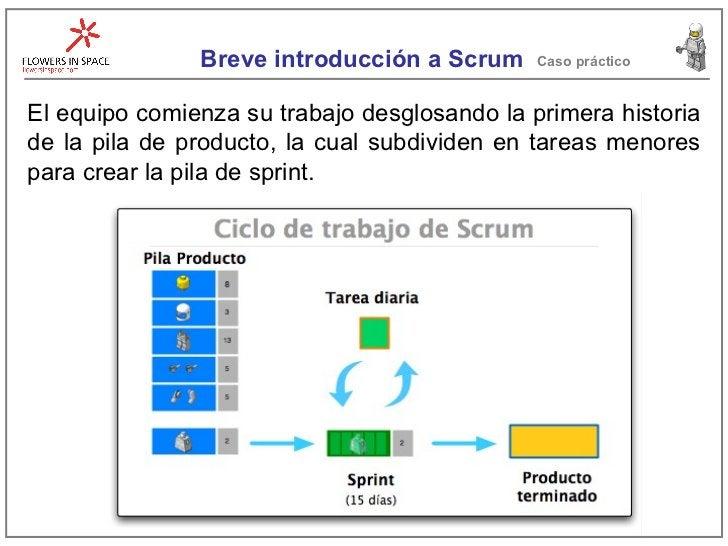 Breve introducción a Scrum Caso práctico El equipo comienza su trabajo desglosando la primera historia de la pila de produ...