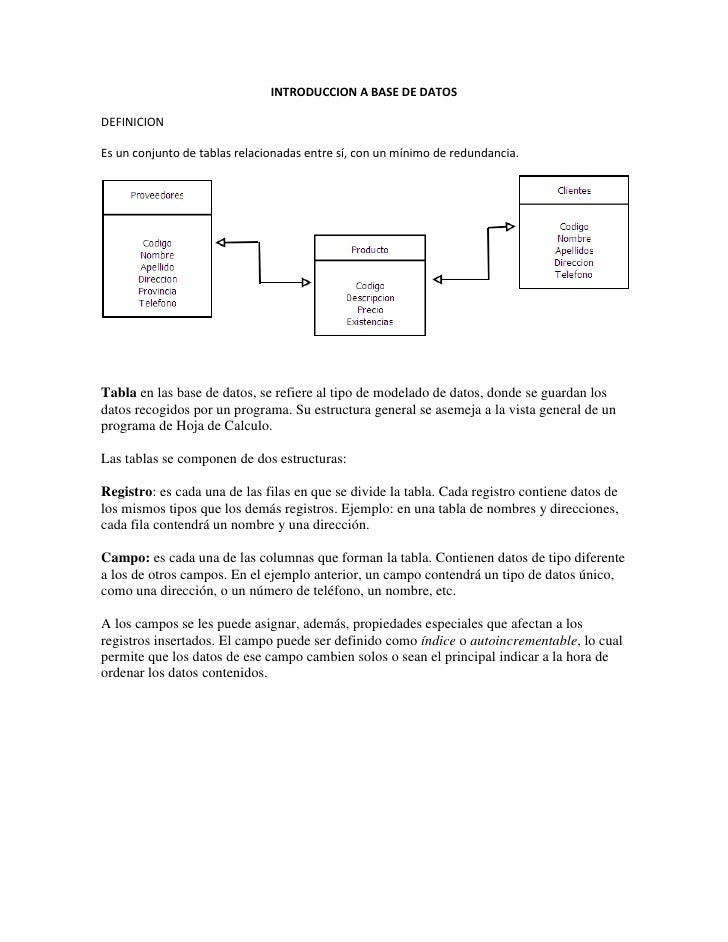 INTRODUCCION A BASE DE DATOSDEFINICIONEs un conjunto de tablas relacionadas entre sí, con un mínimo de redundancia.Tabla e...