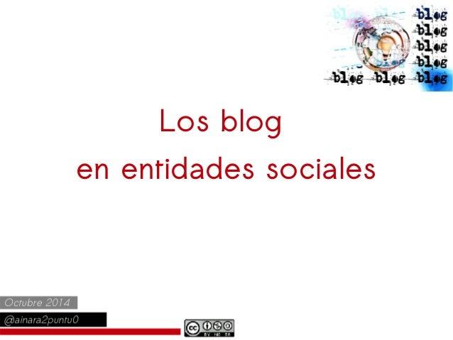 Los blog  en entidades sociales