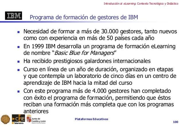 Plataformas Educativas Introducción al eLearning. Contexto Tecnológico y Didáctico 100 Programa de formación de gestores d...