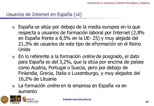 Plataformas Educativas Introducción al eLearning. Contexto Tecnológico y Didáctico Usuarios de Internet en España (vii)  ...