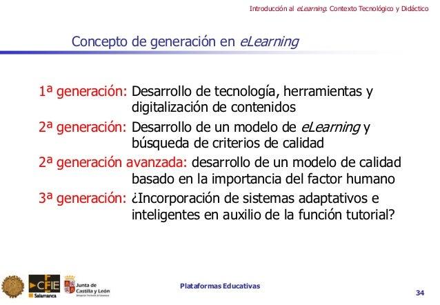 Plataformas Educativas Introducción al eLearning. Contexto Tecnológico y Didáctico 34 Concepto de generación en eLearning ...