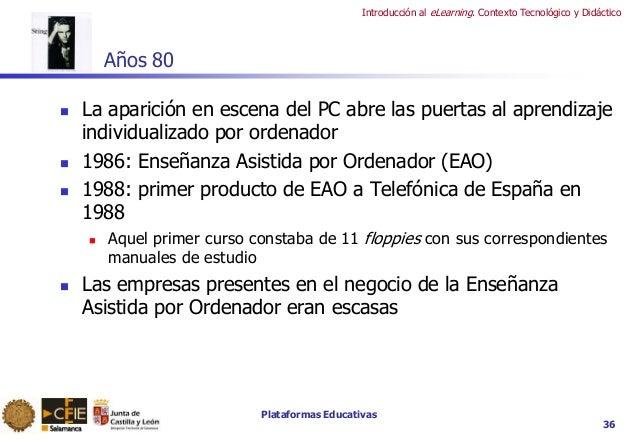 Plataformas Educativas Introducción al eLearning. Contexto Tecnológico y Didáctico 36 Años 80  La aparición en escena del...