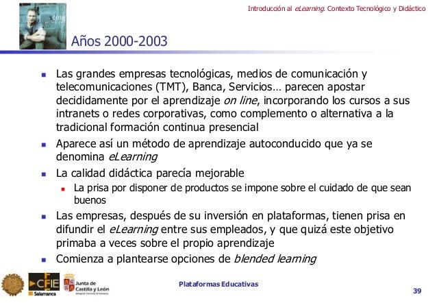 Plataformas Educativas Introducción al eLearning. Contexto Tecnológico y Didáctico 39 Años 2000-2003  Las grandes empresa...