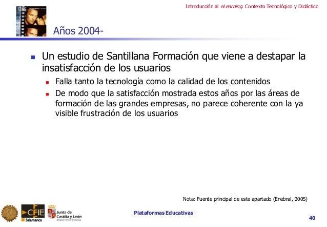 Plataformas Educativas Introducción al eLearning. Contexto Tecnológico y Didáctico 40 Años 2004-  Un estudio de Santillan...