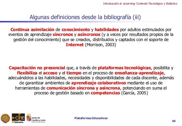 Plataformas Educativas Introducción al eLearning. Contexto Tecnológico y Didáctico 44 Algunas definiciones desde la biblio...