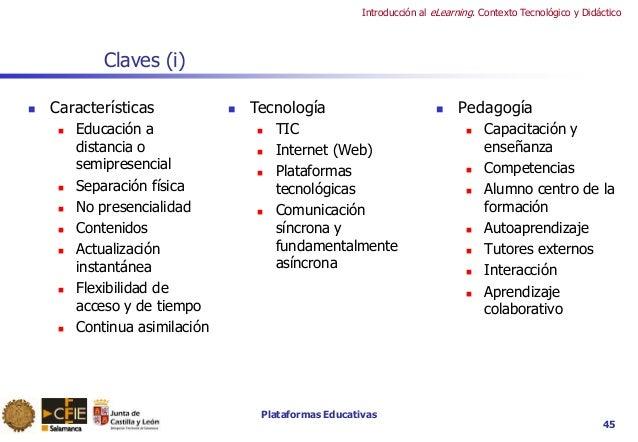Plataformas Educativas Introducción al eLearning. Contexto Tecnológico y Didáctico 45 Claves (i)  Características  Educa...