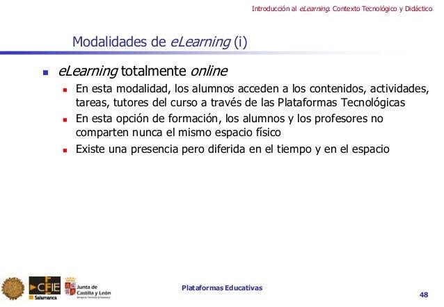 Plataformas Educativas Introducción al eLearning. Contexto Tecnológico y Didáctico 48 Modalidades de eLearning (i)  eLear...