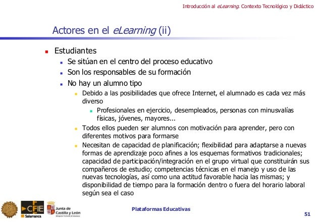 Plataformas Educativas Introducción al eLearning. Contexto Tecnológico y Didáctico 51 Actores en el eLearning (ii)  Estud...