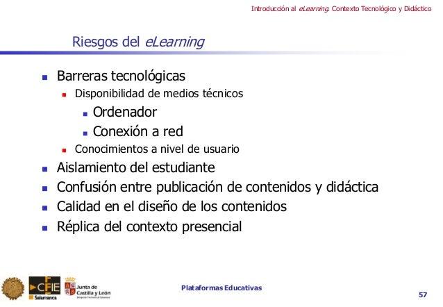 Plataformas Educativas Introducción al eLearning. Contexto Tecnológico y Didáctico Riesgos del eLearning  Barreras tecnol...