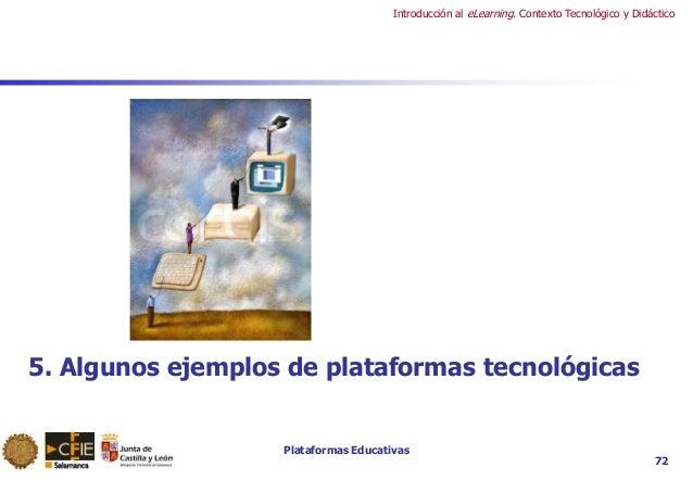 Plataformas Educativas Introducción al eLearning. Contexto Tecnológico y Didáctico 72 5. Algunos ejemplos de plataformas t...