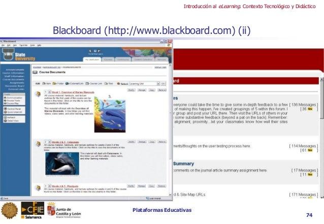 Plataformas Educativas Introducción al eLearning. Contexto Tecnológico y Didáctico 74 Blackboard (http://www.blackboard.co...