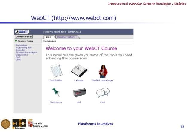 Plataformas Educativas Introducción al eLearning. Contexto Tecnológico y Didáctico 75 WebCT (http://www.webct.com)