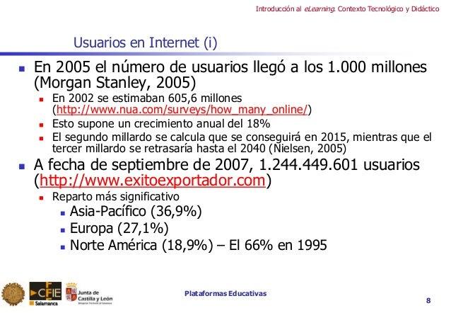 Plataformas Educativas Introducción al eLearning. Contexto Tecnológico y Didáctico Usuarios en Internet (i)  En 2005 el n...