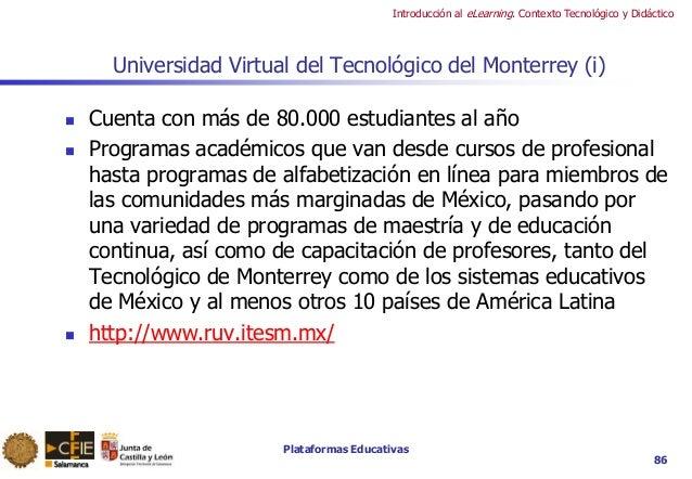 Plataformas Educativas Introducción al eLearning. Contexto Tecnológico y Didáctico 86 Universidad Virtual del Tecnológico ...