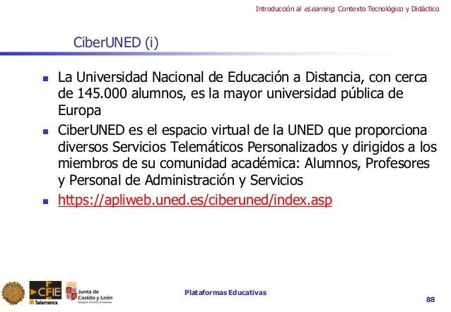 Plataformas Educativas Introducción al eLearning. Contexto Tecnológico y Didáctico 88 CiberUNED (i)  La Universidad Nacio...