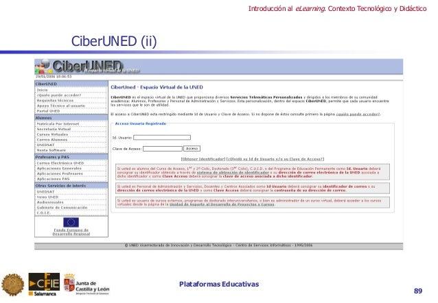 Plataformas Educativas Introducción al eLearning. Contexto Tecnológico y Didáctico 89 CiberUNED (ii)